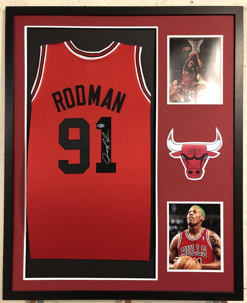huge discount 98d6c 67a92 Dennis Rodman Signed Chicago Bulls 34x42 Custom Framed ...