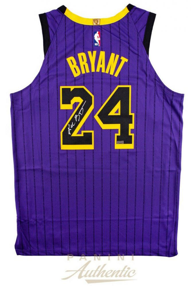 hot sale online 00346 b3b76 Kobe Bryant Signed Los Angeles Lakers 2019 City Edition ...