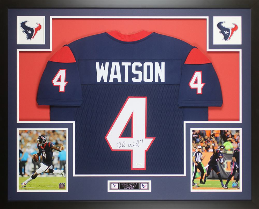 806ce90b Deshaun Watson Signed Houston Texans 35x43 Custom Framed Jersey
