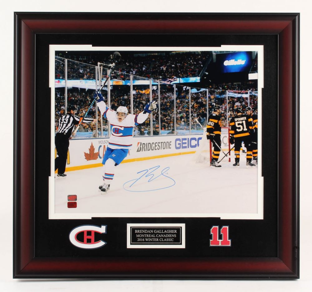 pretty nice 6060a 3ae01 Brendan Gallagher Signed Montreal Canadiens 25.5x27.5 ...