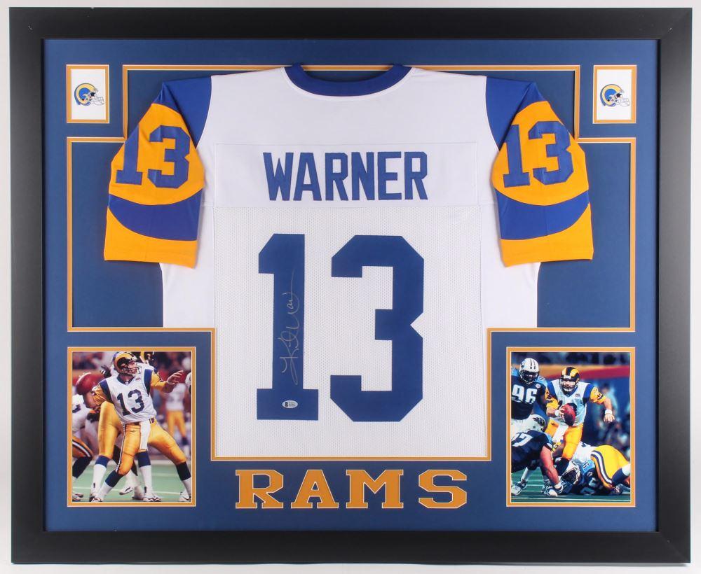 57c9d6fb Kurt Warner Signed St. Louis Rams 35x43 Custom Framed Jersey ...