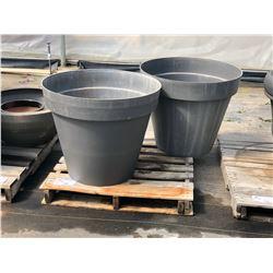 2 GREY APPROX. 3' PLASTIC PLANT POTS
