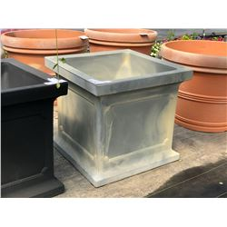 APPROX. 4' GREY SQUARE DECORATIVE PLANT POT