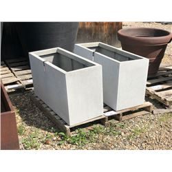 2 LARGE GREY SQUARE PLANTERS