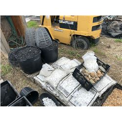 3 PALLETS OF ASSORTED PLANTERS, DECORATIVE ROCK, HANGING BASKETS AND MORE