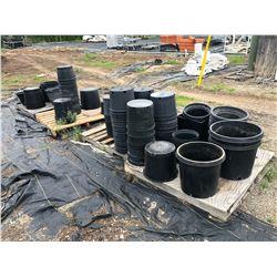 ROW OF ASSORTED BLACK PLASTIC PLANTER POTS
