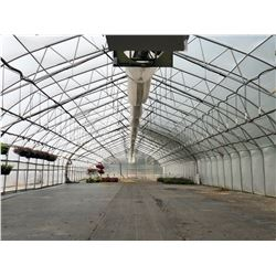 GREENHOUSE 6: APPROX. 185' X 30' PAUL BOERS GREENHOUSE, 14' TALL AT PEAK, COMES WITH 2 HYDRO-RAIN