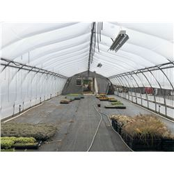 GREENHOUSE 16: 90' X 20' HARNOIS GREENHOUSE, 10' TALL AT PEAK, ONE END WALL ONLY, INCLUDES ATTACHED