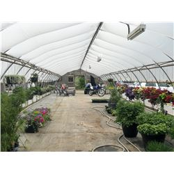 GREENHOUSE 19: 90' X 20' GREENHOUSE, 10' TALL AT PEAK, ONE END WALL ONLY, INCLUDES ATTACHED