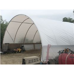 LARGE METAL TENT STRUCTURE, APPROX. 55' LONG X 25' WIDE X 13' TALL INCLUDING BASE