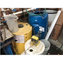 4 WATER TREATMENT SYSTEM TANKS WITH CONTENTS, COMES WITH MILTON ROY METER
