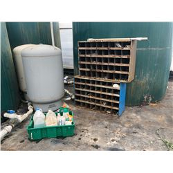 REMAINING CONTENTS IN WATER TANK AREA INC. PARTS BINS, CHEMICALS AND MORE