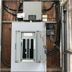 347/600 VOLT BREAKER PANEL AND 347 VOLT 400 WATT LIGHTING RELAY UNIT, WITH MODEL ET100C LIGHTING