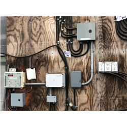 CONTENTS OF ELECTRICAL SYSTEM ON WALL INC. HARNOIS ENVIROTROL TC7, HYDRO-RAIN CONTROLLER AND MORE,