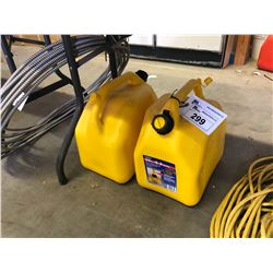 2 YELLOW PLASTIC GAS CANS