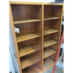 WOOD SHELVING UNIT, LATERAL FILE CABINET, DISHWASHER, AND ASSORTED WOOD FURNITURE IN SHOP