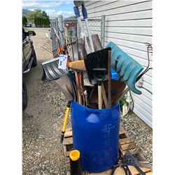 LARGE BLUE BIN WITH ASSORTED HAND TOOLS