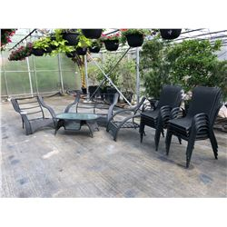 PATIO SET INC. 10 CHAIRS, 2 ARM CHAIRS, LOVE SEAT AND COFFEE TABLE, NO CUSHIONS