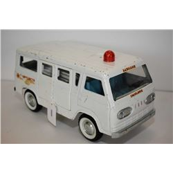 "Vintage Nylint pressed tin ambulance with removable gurney, opening front and side doors 11"" in leng"
