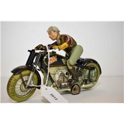 """Vintage German made """"Mac 700"""" tin plate key wind stunt rider working with key, 8"""" in length"""