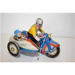 Vintage wind up pressed tin motorcycle with riders and side car, 7  in length, no. 605