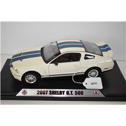 Die cast 2007 Shelby GT Mustang car with presentation stand and opening doors, hood and trunk 10 1/2