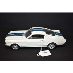 """Die cast 1965 Mustang GT 350 with opening doors, trunk and hood, 10"""" in length, 1:18 scale"""
