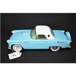 """Vintage pressed tin Japanese made 1956 Thunderbird friction car, 10 1/2"""" in length"""