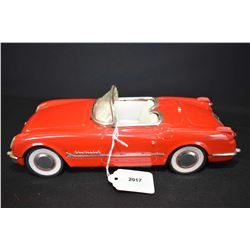 """Vintage pressed tin Chinese made 1955 Corvette friction car, 10"""" in length"""