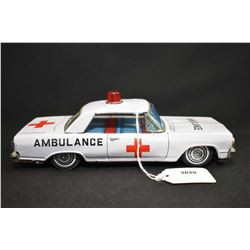 Pressed tin Chevrolet Impala ambulance made in Japan, 8 1/4  in length