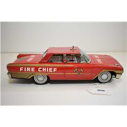 """Pressed tin Ford Galaxy Fire Chief car, made in Japan and missing roof lamp lens, 9 1/4"""" in length"""