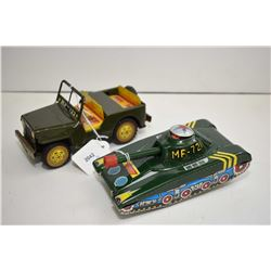 """Two pressed tin friction toys including tank and a jeep, both made in China and both 6 1/2"""" in lengt"""