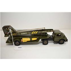 """Pressed tin Fire Department car with press to wind mechanism, made in Japan and 9"""" in length"""