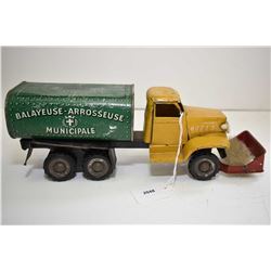 """Pressed tin French military style street sweeping truck, with wind up mechanism, 12"""" in length"""