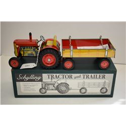 """Schylling clock work wind-up tractor and trailer with three speed transmission and original box, 12"""""""