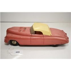 Vintage hard plastic and metal friction driven Fire Chief car made in Great Britain by Louis Marx, 1