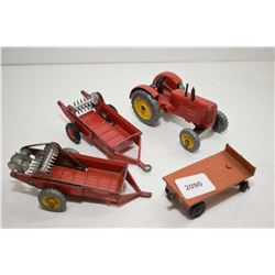 """Dinky Toys """"Massey Harris"""" Tractor with two spreaders No. 27C and No. 321 and a flat deck trailer"""