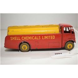 """Dinky toys """"A.E.C. Monarch Thompson Tank"""" Shell Oil delivery truck in played with condition"""
