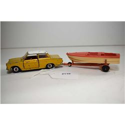 "Dinky Toys ""Cortina"" and a boat trailer with Healey Sports Boat made by Dinky, all in fair condition"