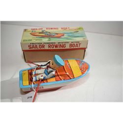 Friction powered, mystery action Sailer rowing boat toy with origina box, made in Japan
