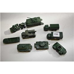 Nine Lesney miniature military vehicles including tank and transporter, 3 ton 4 X 4, Personal carrie