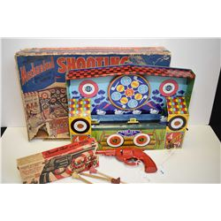 Wyandotte No. 3906 mechanical shooting gallery game with original box and matching gun also with ori