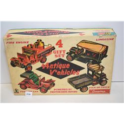 Cragstan four vehicle gift set with four pressed tin friction toys including firetruck, touring car,