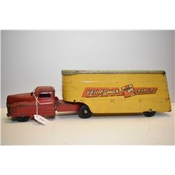 "Vintage Buddy L Van Freight Carriers hauler in original played with condition, 20"" in length"
