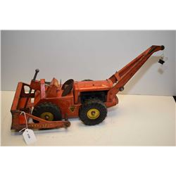 "Ny-Lint pressed steel Bulldozer Crane construction toy, 19"" in length, in play with condition"
