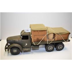 Vintage Smith-Miller U.S Army Overseas flat deck pressed steel truck with wooden cargo and canvas ta