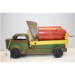 "Vintage Lincoln pressed steel cement truck in original played with condition, 14"" in length"