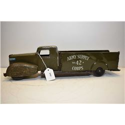 Vintage Wyandotte pressed steel Army Surplus No. 2 Corps. Army truck in original played with conditi