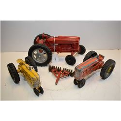 Selection of vintage cast tractors including two Hubleys, Slik-Toy tractor and a disc