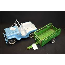 Two vintage pressed steel toys including a Tonka jeep and a Ny-Lint utility trailer